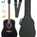 Barcelona Full Size Acoustic Guitar with Free Carrying Bag and Accessories – Black