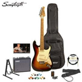 Sawtooth ST-ES-SBVC-KIT-3 Sunburst Electric Guitar with Vintage White Pickguard – Includes Accessories, Amp, Gig Bag and Online Lesson