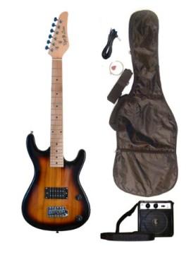 SUNBURST Junior Kids Mini 3/4 Electric Guitar Amp Starter Pack, Guitar, Temolo, Amplifier, Gig Bag, Strap, Cable, & DirectlyCheap(TM) Translucent Blue Medium Guitar Pick