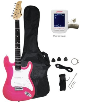 Crescent EG-PK 39″ Electric Guitar Starter Package – Pink Color (Includes Bonus CrescentTM Digital E-Tuner)