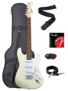 Squier by Fender Bullet Strat Electric Guitar with Tremolo, Rosewood Fretboard Bundle with Gig Bag, Instrument Cable, Strap, Strings, and Picks – Arctic White