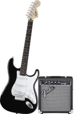 Squier by Fender Strat Electric Guitar Pack w/ Frontman 10G, Black