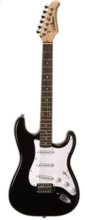 Silvertone Series SS15 BLK Solid-Body Double Cutaway Electric Guitar, Gloss Black