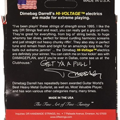 DR Strings Electric Guitar Strings, Dimebag Darrell Signature, Treated Nickel-Plated, 9-50