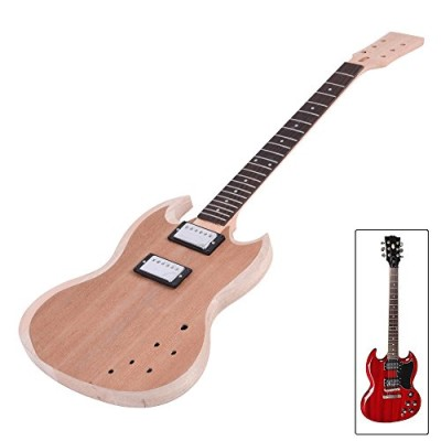 ammoon Unfinished DIY Electric Guitar Kit Mahogany Body Neck Rosewood Fingerboard